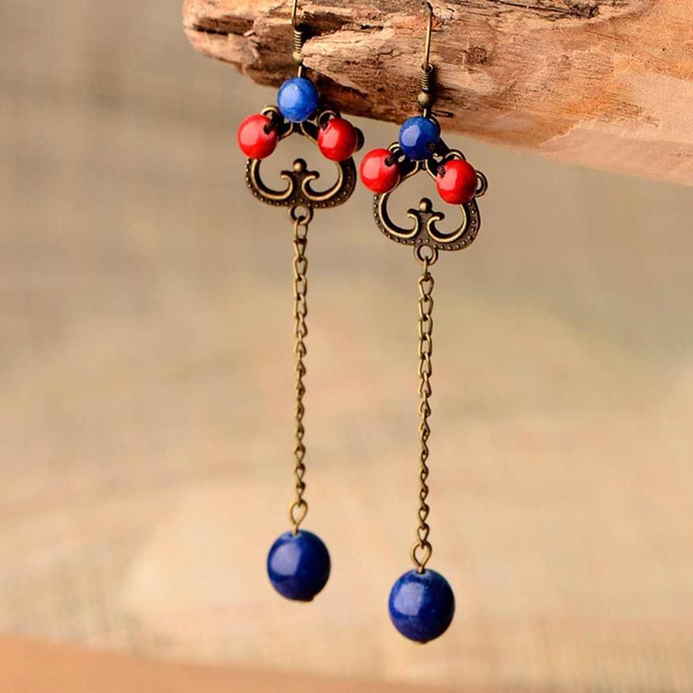 7517e014928a BOEYCJR étnico rojo y azul piedra pendientes hechos a mano joyería gancho pendientes  cuentas pendientes colgantes