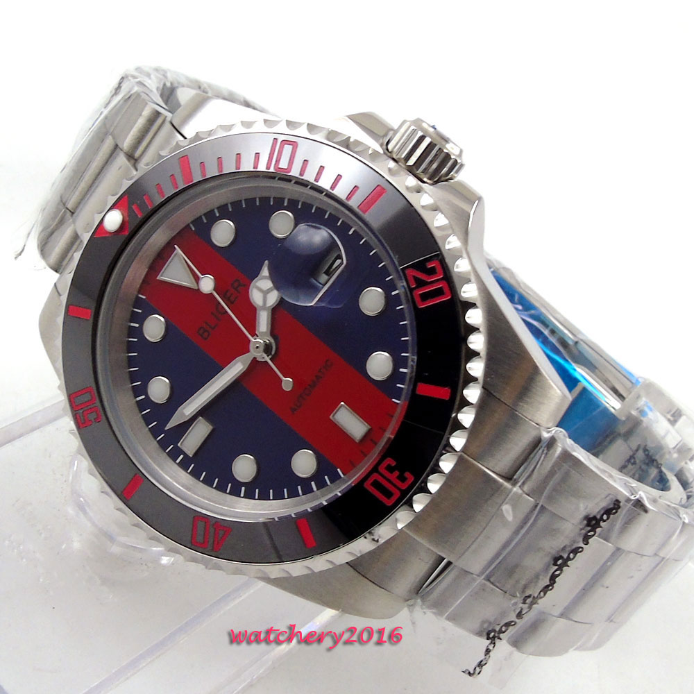 40mm Bliger Red & Blue dial ceramic bezel Date window SS Band Sapphire Crystal Luminous Hands Automatic Mechanical Men's Watch коньки onlitop 223f 37 40 blue 806164