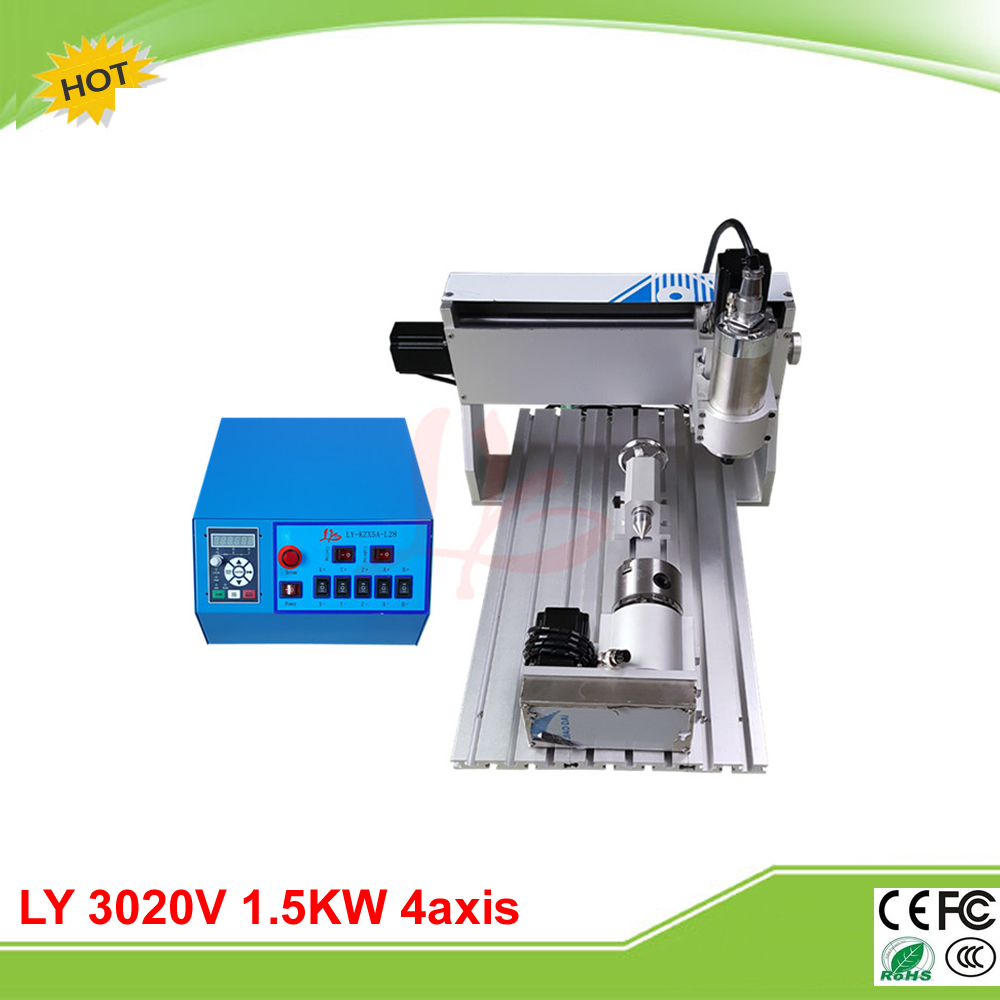 LY mini CNC 3020V 1.5KW 4axis CNC router mini lathe VFD controller duty free to RU ly 6090v 2 2kw 3 axis mini cnc carving machine lathe vfd controller for 3d metal milling work duty free to ru