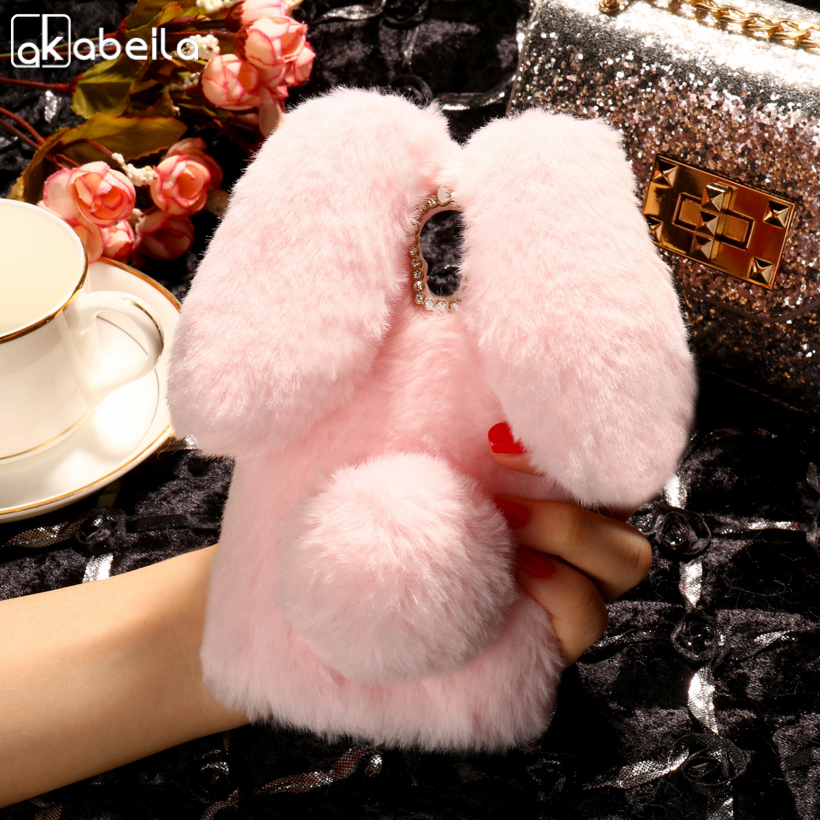 AKABEILA Silicon Case For Alcatel Pixi 4 5010D Cases Rabbit Hair Diamond OneTouch Pixi 4 5010X 3G Version Cute Anti-knock Cover ...