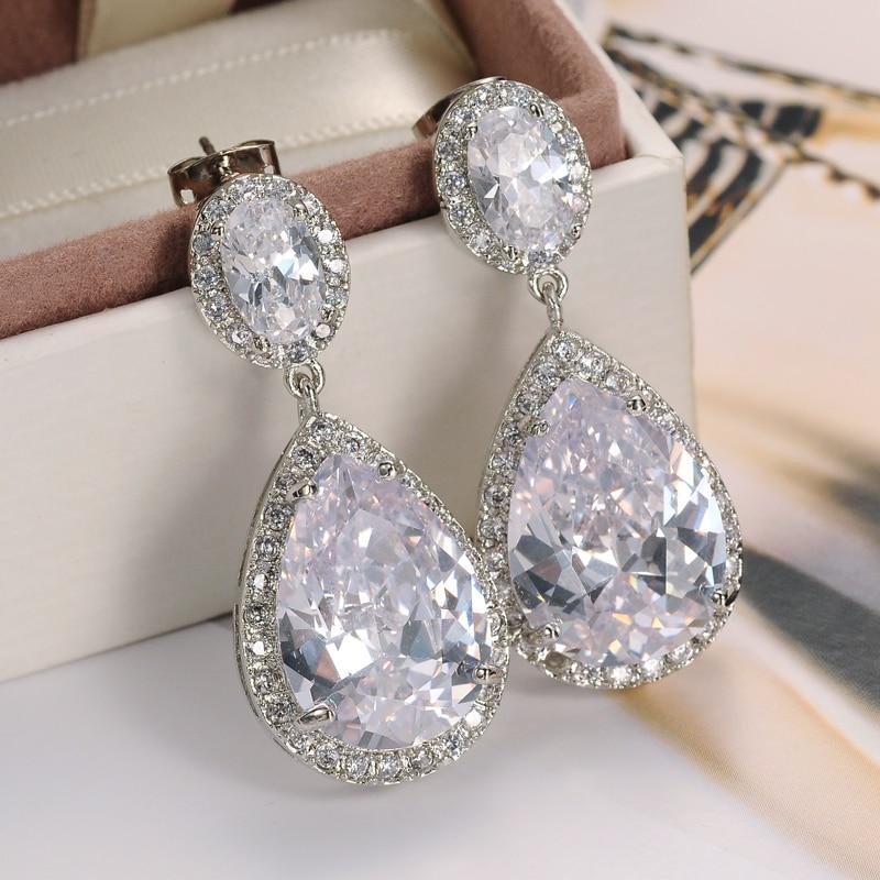 Luxury Zircon Waterdrop Heavy Drop Earrings Sparkling Aaa Cubic Zirconia Fashion Bridal Wedding Party Dangle In From Jewelry