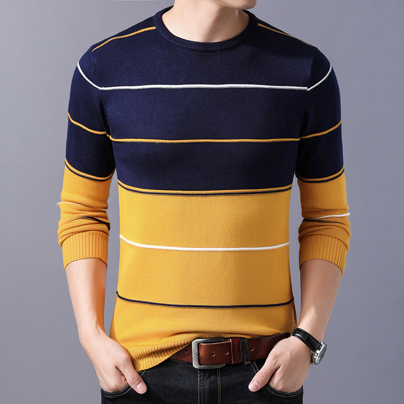 Men's Sweater Pullovers Slim-Fit O-Neck Homme Knittwear Autumn Striped Winter Casual