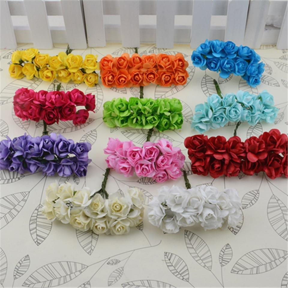 Fake flowers for crafts - 12pcs Lot Mini Paper Rose Handmake Artificial Flower Bouquet Wedding Decoration Diy Wreath Gift Scrapbooking Craft Fake Flower