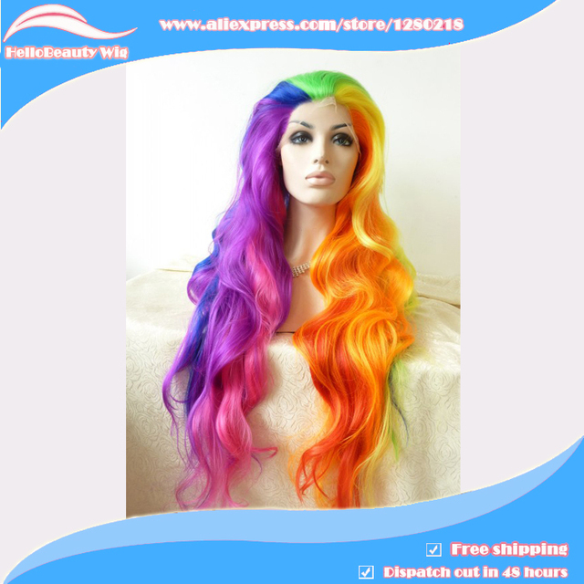 Long Wavy Synthetic lace front hair wig Rainbow hair color Heat ...