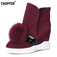 TAOFFEN Size 34 40 Warm Winter Shoes Women Real Leather High Heel Wedges Winter Boots For