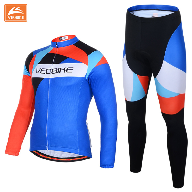VEOBIKE Spring Autumn Men's Long Sleeve Cycling Jersey Sets Breathable 3D Padded Bicycle Sportswear Cycling Ciclismo Clothings wosawe men s long sleeve cycling jersey sets breathable gel padded mtb tights sportswear for all season cycling clothings