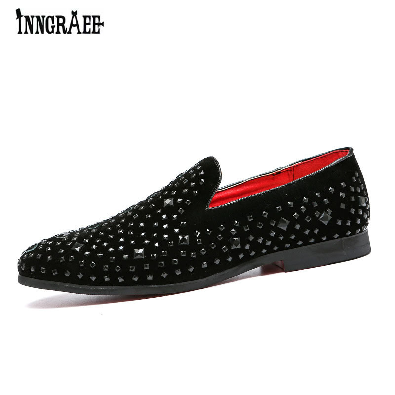 Spiked Loafers Rivets-Shoes Rhinestones Diamond Red-Bottom Black New B1081 Wedding
