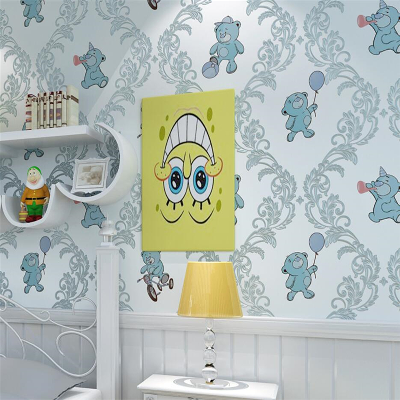 beibehang Children room bear non-woven wallpaper 3d three-dimensional boy girl bedroom living room background wall paper beibehang new children room wallpaper cartoon non woven striped wallpaper basketball football boy bedroom background wall paper