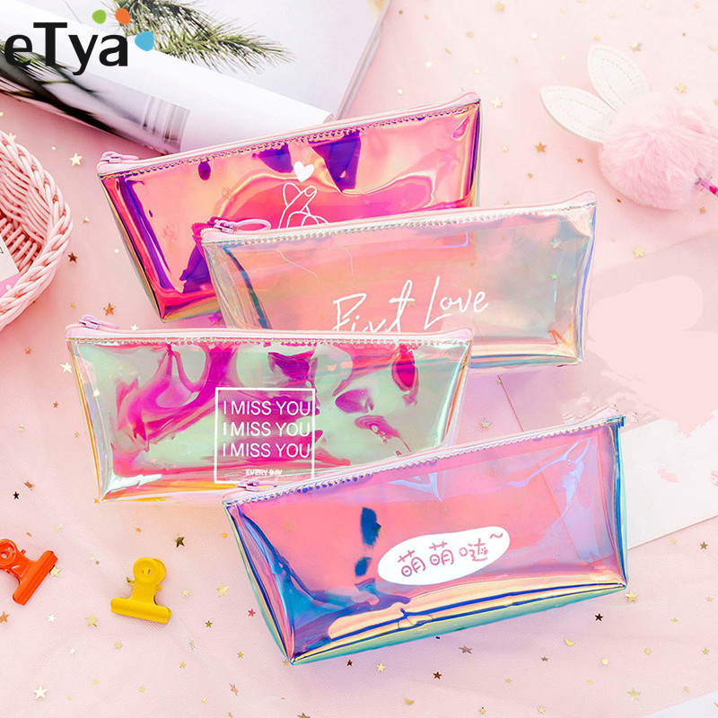 ETya Transparent Cosmetic Bag Fashion Travel Makeup Bag  Zipper  Make Up  Organizer  Pouch Toiletry Student Pencil Pouch