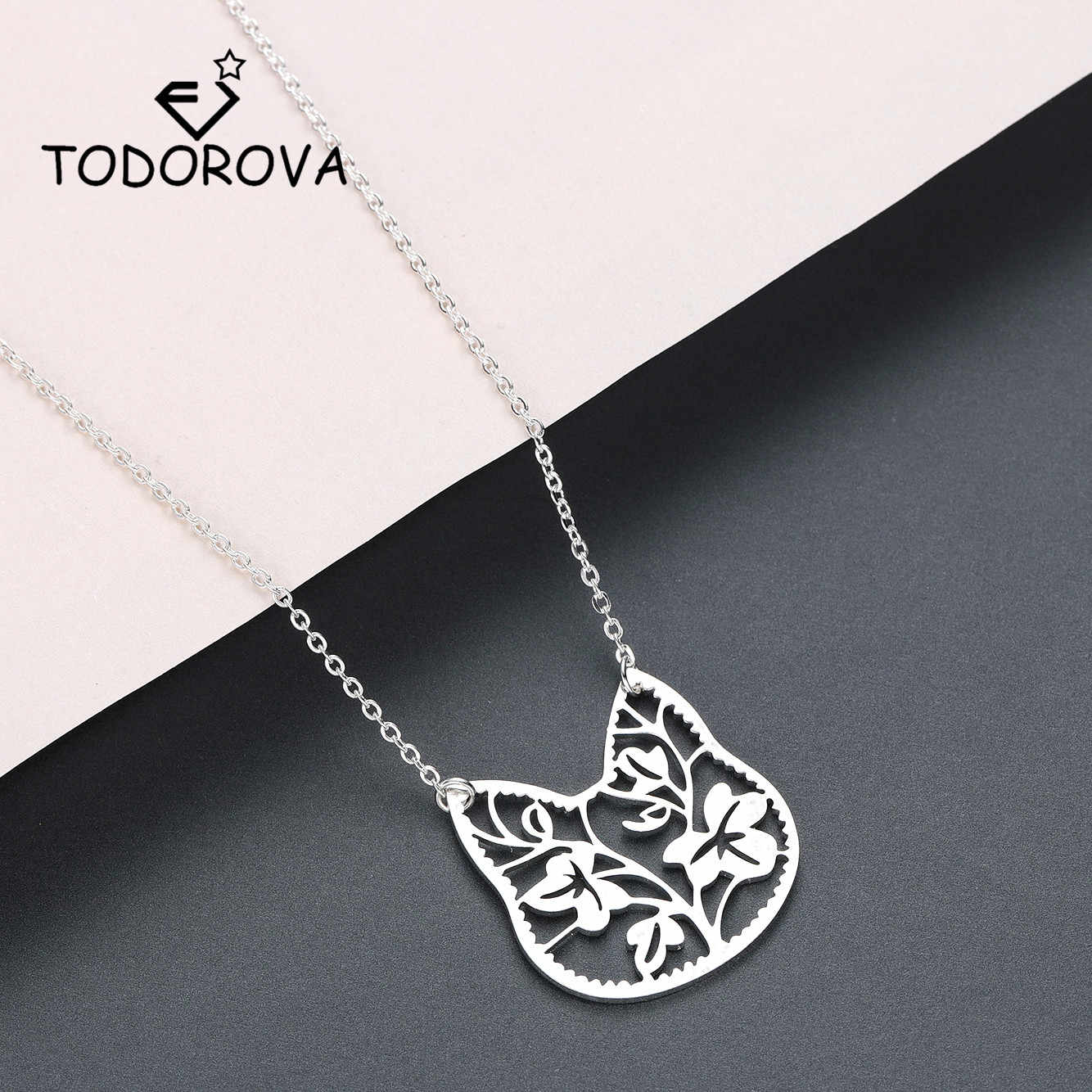 Todorova Cute Animal Jewelry Stainless Steel Cat Face Necklace for Pets Lovers collares Necklaces & Pendants Gifts for Girls