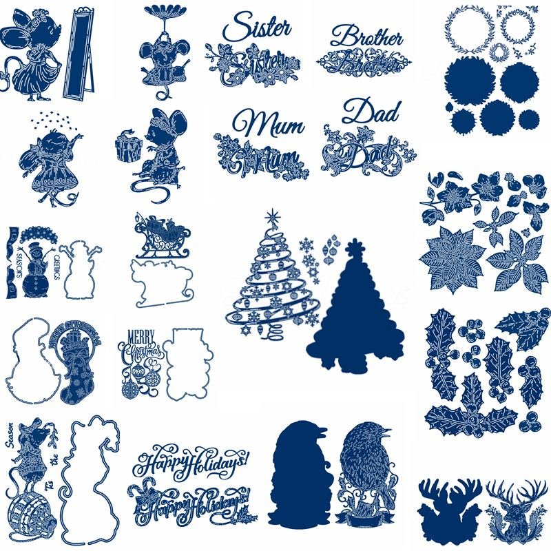 Beauty Mouse Snowman Christmas Tree Leaves Metal Cutting Dies Scrapbooking For Card Album Embossing Crafts Die Cuts New 2019 in Cutting Dies from Home Garden
