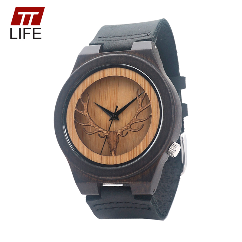 ФОТО TTLIFE Men Deer Head Skeleton Design Luxury Ebony  Quartz Woodenwatch with Black Color Genuine Leather Band in Metal Box WD250