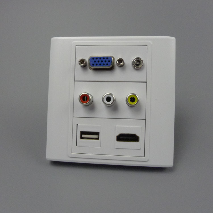 Wall Plate Module Outlet Faceplate 3.5mm Stereo Jack AUX Cable to Female Stub