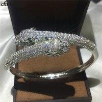 choucong Leopard bracelet Pave setting 380pcs cubic zirconia White Gold Filled Engagement bangle for women wedding accessaries