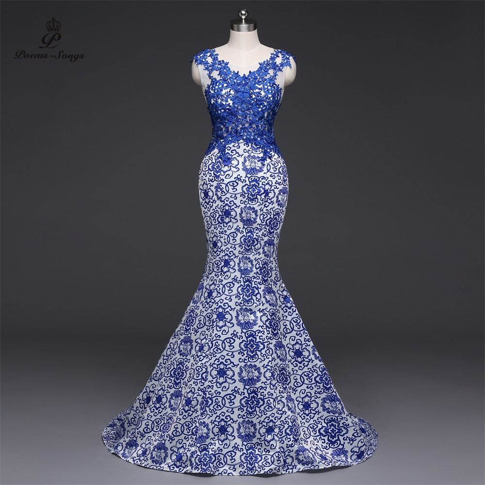 Poems Songs 2019New Long Evening Dress vestido de festa Sexy Backless Luxury Blue formal party dress