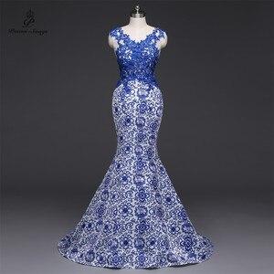 Image 1 - שירי שירים 2019New ארוך שמלת ערב vestido דה festa סקסי ללא משענת יוקרה כחול פורמליות המפלגה שמלה לנשף שמלות סין