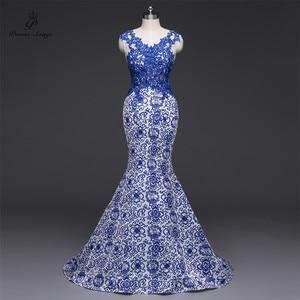 Image 1 - Gedichte Songs 2019New Lange Abendkleid vestido de festa Sexy Backless Luxus Blau formale party kleid prom kleider China