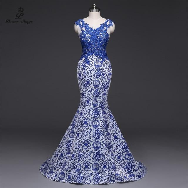 Gedichte Songs 2019New Lange Abendkleid vestido de festa Sexy Backless Luxus Blau formale party kleid prom kleider China