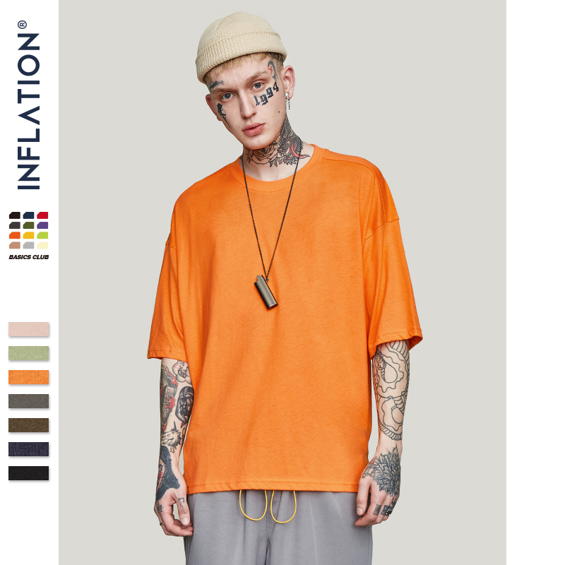 INFLATION Summer New Style Uni Casual Solid Elbow Length Crew Neck Cotton Oversized Fashion Hip Hop T-Shirts 0057S17