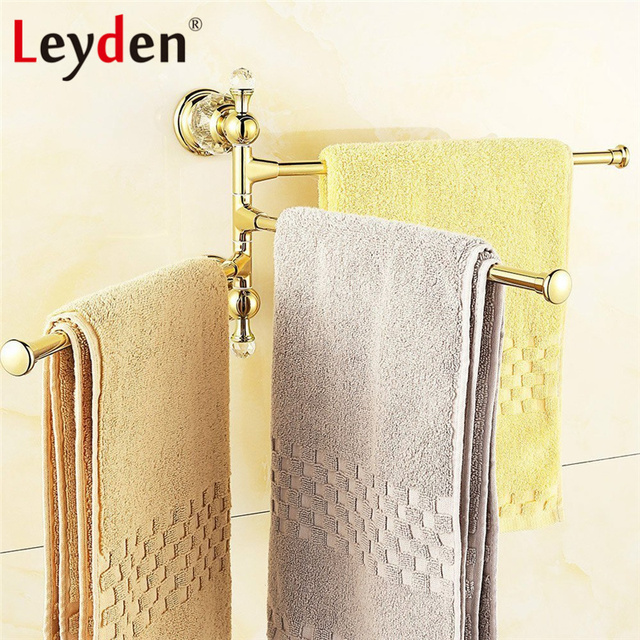 Leyden lujo cristal toallero oro acabado girando toalla barra ropa hanger  montado en la pared baño 8dd594c25e2d
