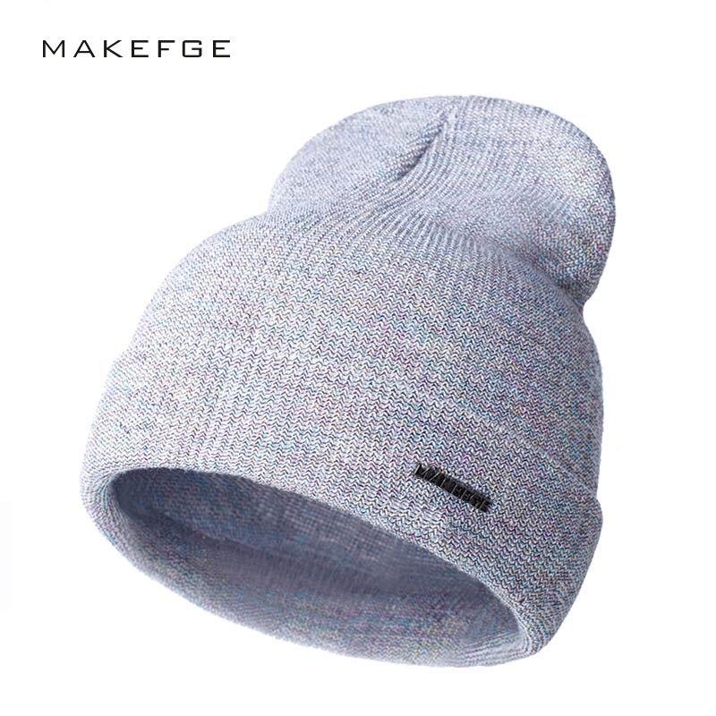 Shine Skullies & Beanies Fashion Women Men Knitting Beanie Hip-Hop Winter Warm Caps Unisex 9 Colors Hats For Women Feminino Bone