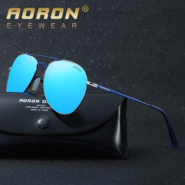aef141d460 AORON Marca gafas de Sol Polarizadas Caja Original LOGO Gafas de Diseñador  de Los Hombres Gafas