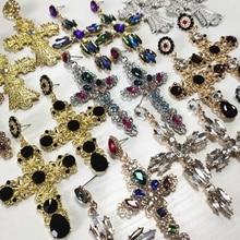 JURAN Women Fashion Vintage Crystal Gold Cross Earring Sweet Metal Wit