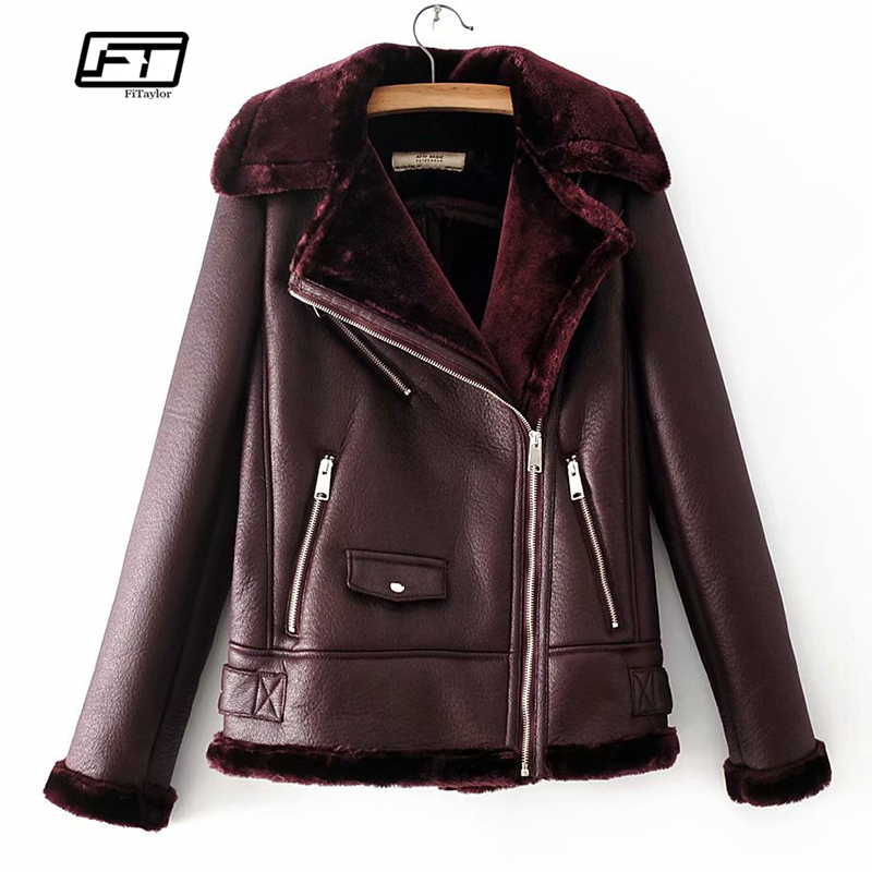 Fitaylor Winter Faux Leather Lambswool Fur Jacket Coat Women Warm Thick Faux Lamb Leather Bomber Army
