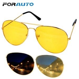 FORAUTO Anti-glare Car Drivers Night Vision Goggles Driving Glasses Copper Alloy Sunglasses Auto Accessories