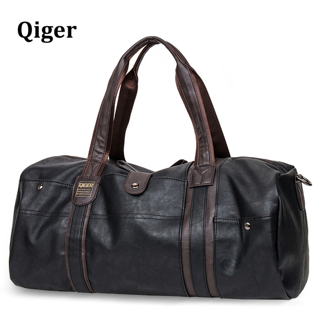 72a86c7a11 Qiger Men comfortable Pu leather retro travel bag men s vintage duffel  travel bag large capacity strap casual tote new 2017