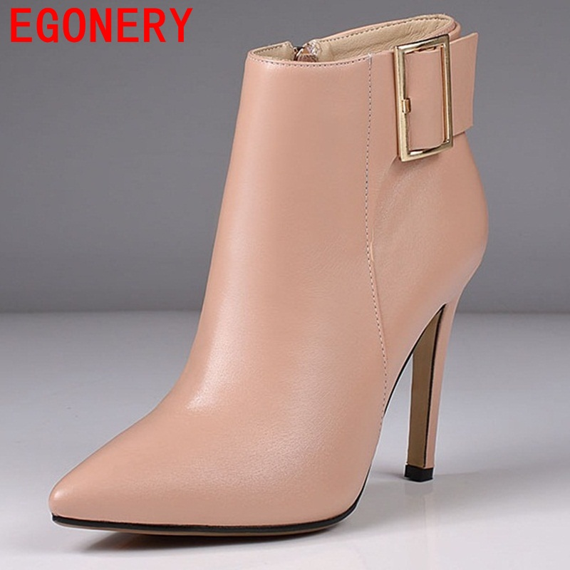 все цены на  EGONERY shoes 2017 europe and america fashion women ankle boots elegant thin high heels lady pointed toe shoes sexy buckle shoes  в интернете
