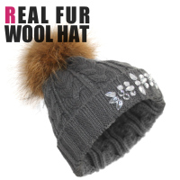 New Fashion Women Knitted Thick Cao Warm Pattern Beanie With Fur Ball In Women Winter Knitted