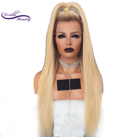 Dream Beauty 180 Density Lace front Human Hair Wigs With Baby Hair Silky Straight omber blond #4/613 Brazilian Remy Hair Wigs