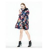 A Style 2016 Women down coat winter outwear women's winter jacket oil painting flower jackets medium long down coat female
