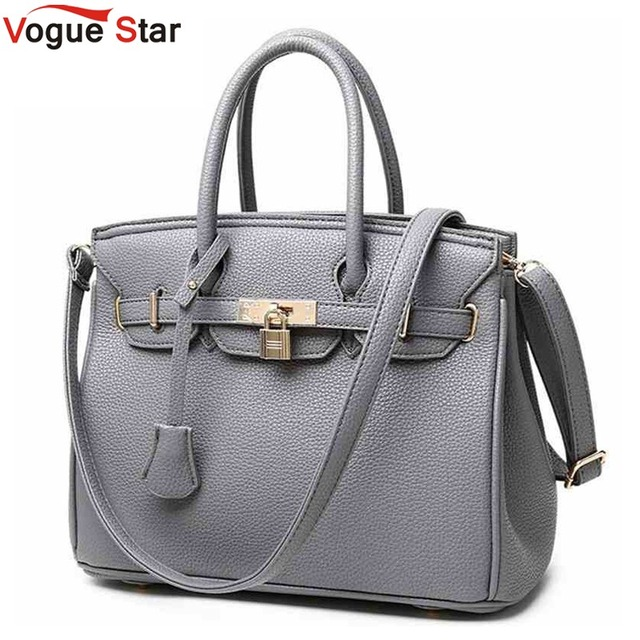 Vogue Star Luxury Lock Rivet Las Leather Tote Bag 2018 New Designer Handbags High Quality Women