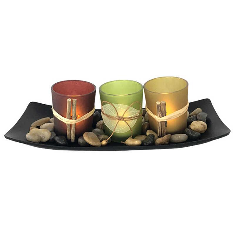 3 pçs portátil venda quente clássico cristal castiçal de vidro casamento barra festa decoração da casa castiçal castiçais conjunto