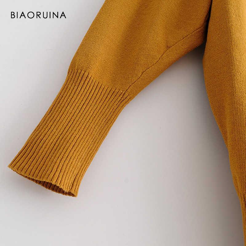 BIAORUINA, 3 цвета, Женский негабаритный однотонный Повседневный трикотажный свитер, эластичный, круглый вырез, Женский универсальный свободный базовый пуловер