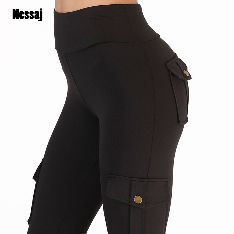 Nessaj High Waist Fitness Leggings Women Pocket Leggings Solid Color Push Up Legging Women Clothing Polyester Leggings