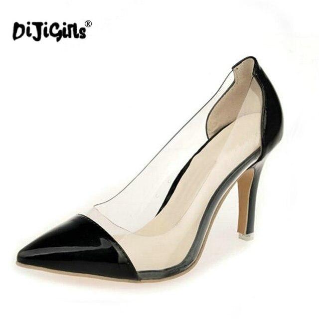 1a2642a7b6f5 DIJIGIRLS Brand Women s High Heel Sandals Pointed Toe Stiletto See-through Shoe  Women s Thin High Heels Pumps Work Career Shoes