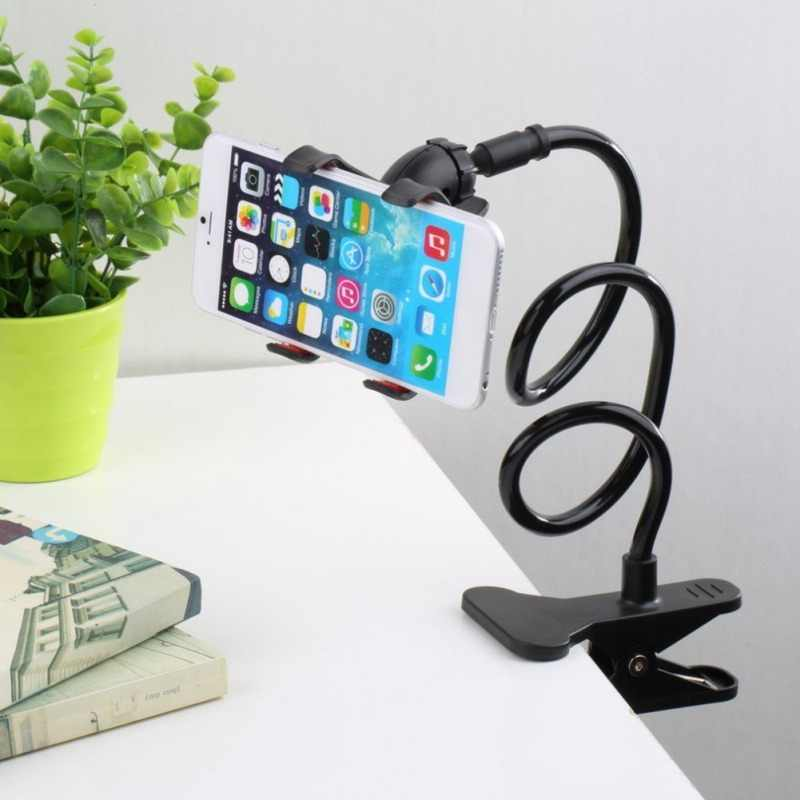 Universal Lazy Mobile Phone Gooseneck Stand Holder Stents Flexible Bed Desk Table Clip Bracket for Phone Flexible Holder Arm