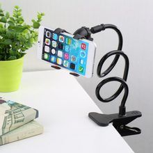 Universal Lazy Mobile Phone Gooseneck Stand Holder Stents Flexible Bed Desk Table Clip Bracket for Phone Flexible Holder Arm(China)