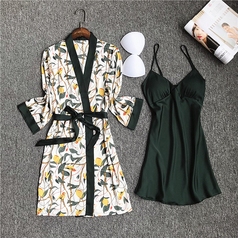 2019 Women Satin Sleepwear Robe Sexy Silk Robe Gown Set Sleep Lounge Indoor Clothing Ladies Nightwear Nightdress With Chest Pads
