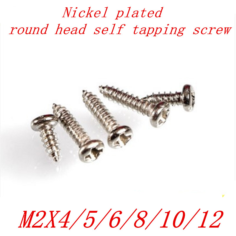 1000Pcs M2 2mm nickel plated micro electronic screw phillips round pan head self tapping screw 500pcs m2 4 5 6 8 10 12 2mm nickel plated micro electronic screw cross recessed phillips round pan head self tapping screw
