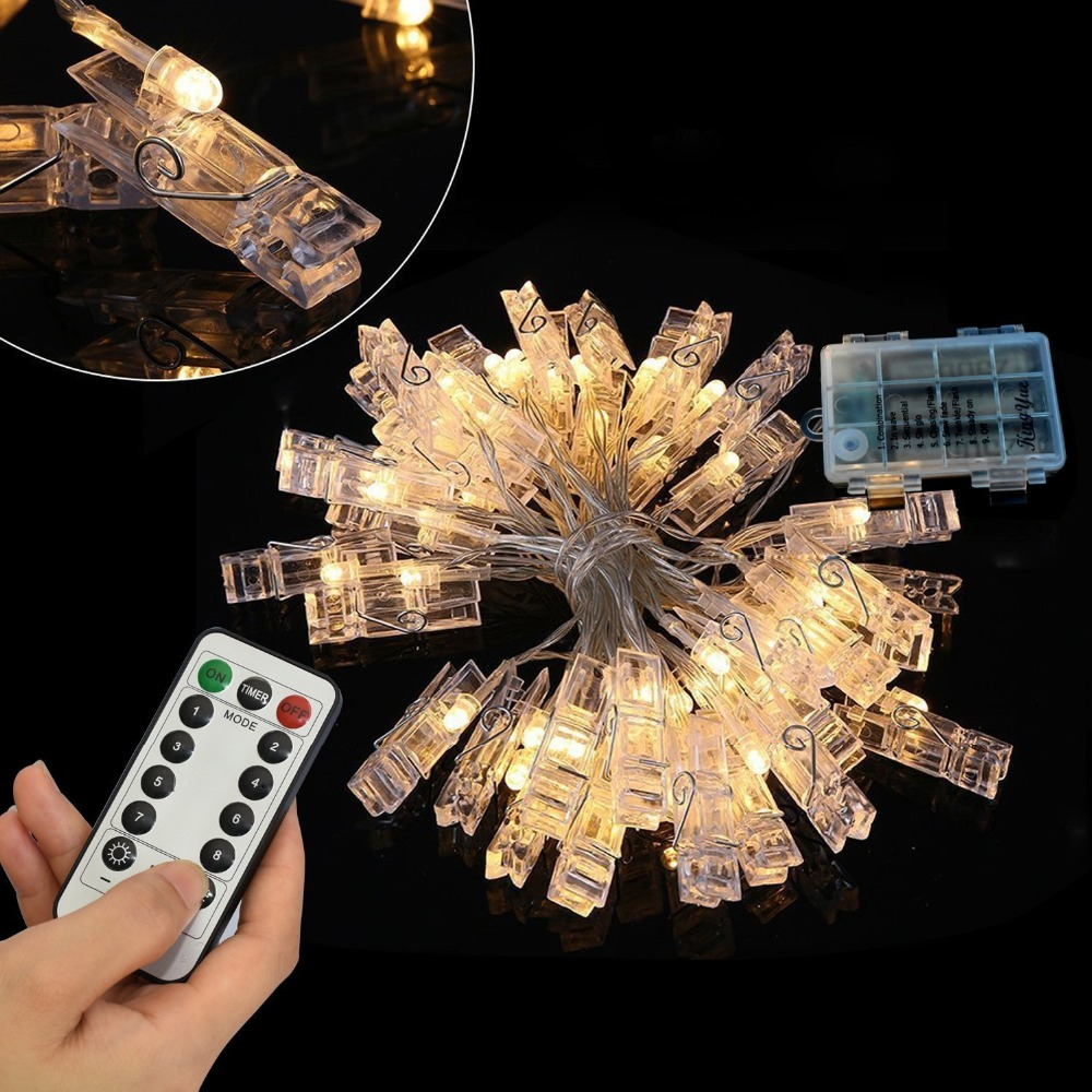 6M LED Light String 40 Clothespin Photo Holder Remote Control 8 Change Lights USB Battery Powered Fairy Garland For Party Photos