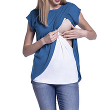 Maternity Clothes Breastfeeding Clothes Summer Maternity Nursing Wrap Top Short Sleeves Double Layer Blouse T-Shirt JE04#F