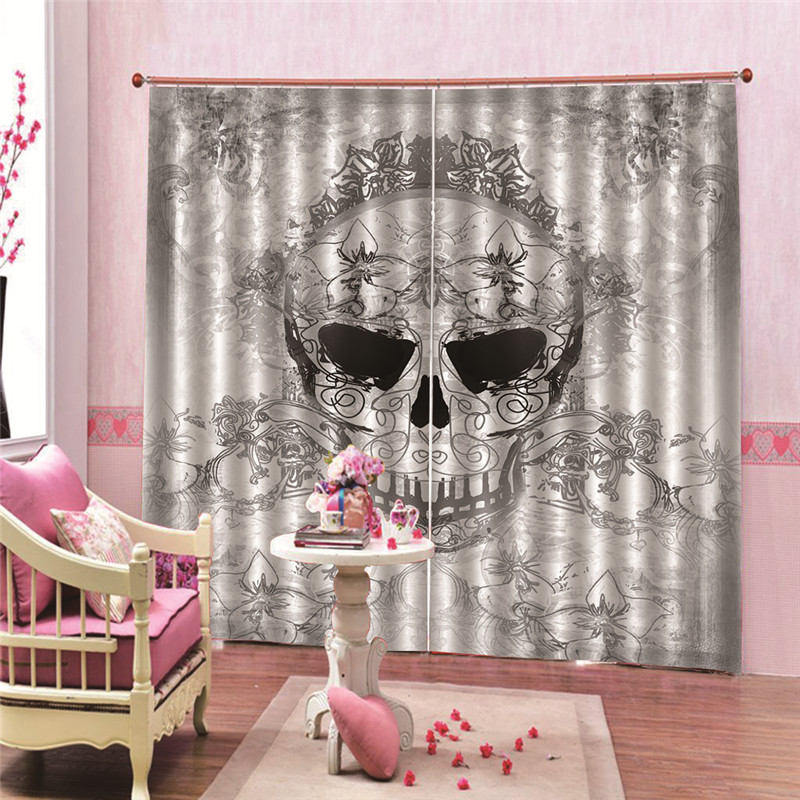 Skull Pattern Blackout Curtains for Living Room Bedroom Decorative Kitchen Door Curtain Drapery Fabric Teal accessoires(China)