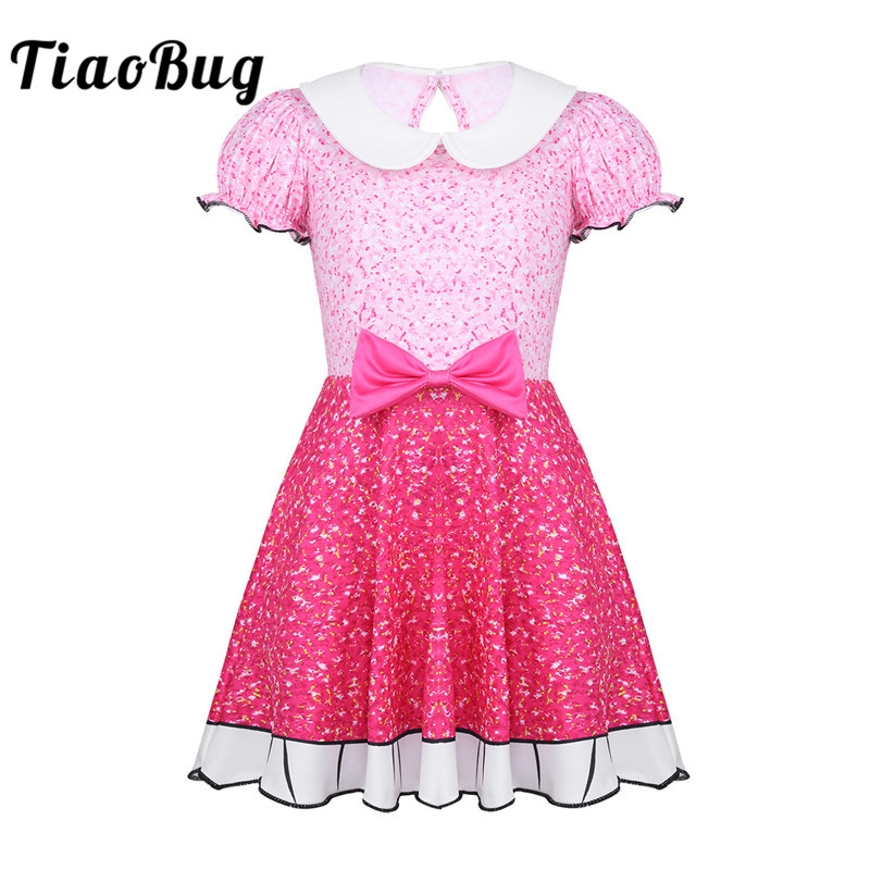 TiaoBug Kids Girls Puff Sleeve Bowknot Digital Printed Christmas Costume Princess Dress Children Carnival Cosplay Party Costume
