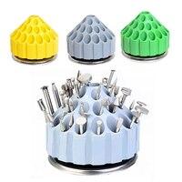 1 unid nuevo tipo dental Bur holder Plastic bloquear Caso 35 agujeros 360 grados rotación caja de almacenamiento