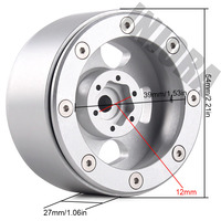INJORA 1.9 Beadlock Classic Metal Wheel Rim for RC Rock Crawler Axial SCX10 90046 Traxxas TRX4 D90 2