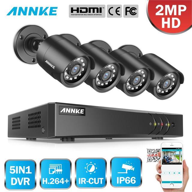 ANNKE 1080P Lite 4CH/8CH 5in1 H.264+ DVR Security Surveillance Video CCTV System 4X Smart IR Bullet Outdoor Waterproof Cameras